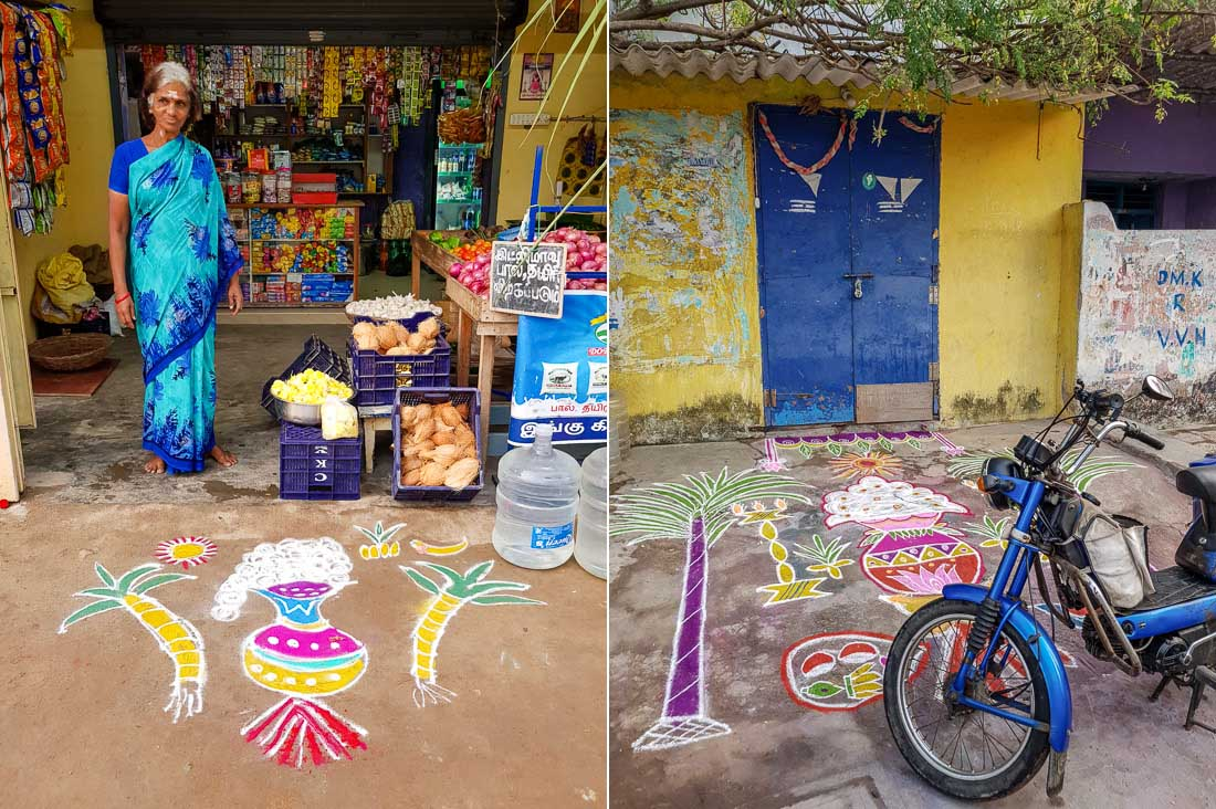 Kolams before a shop