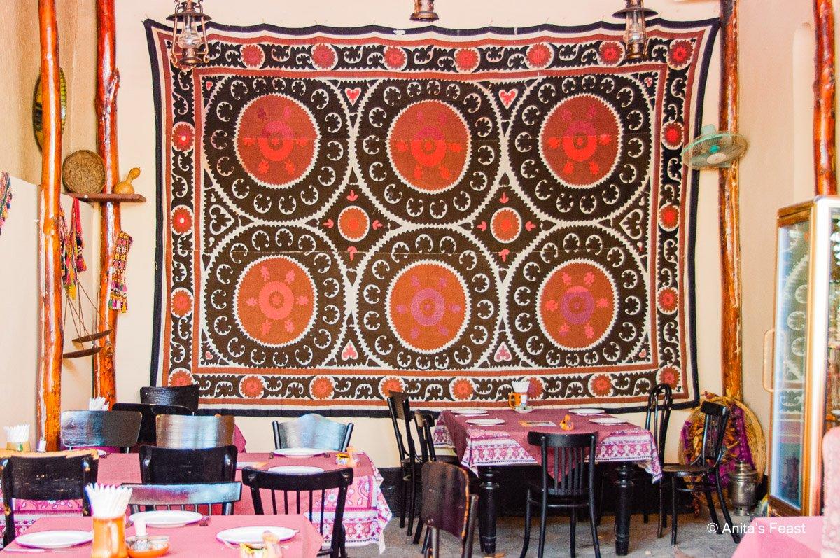Suzani hanging in Tashkent restaurant