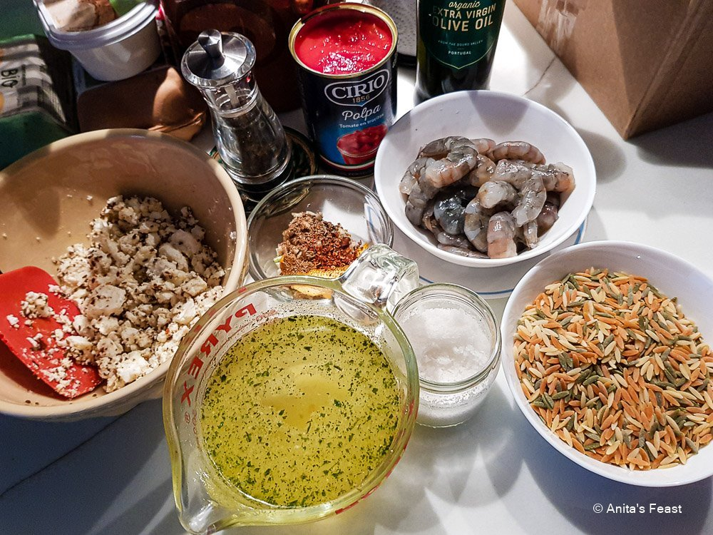 Mise en place for a Middle Eastern shrimp and pasta dish