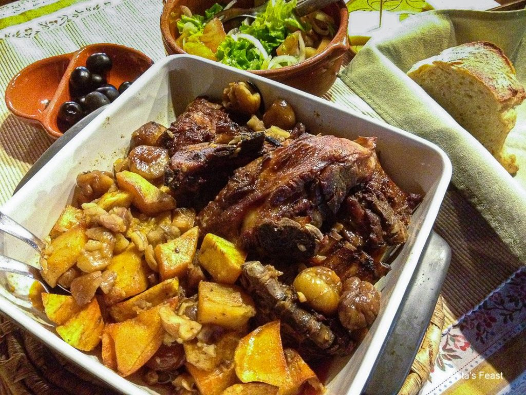 Cabrito with potatoes and chestnuts, in a schist village restaurant in central Portugal